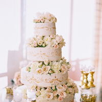 Flowers & Decor, Cakes, Real Weddings, Wedding Style, ivory, pink, gold, Classic Wedding Cakes, Glam Wedding Cakes, Round Wedding Cakes, Wedding Cakes, Candles, Summer Weddings, West Coast Real Weddings, Classic Real Weddings, Glam Real Weddings, Summer Real Weddings, Classic Weddings, Glam Weddings, Glam Wedding Flowers & Decor