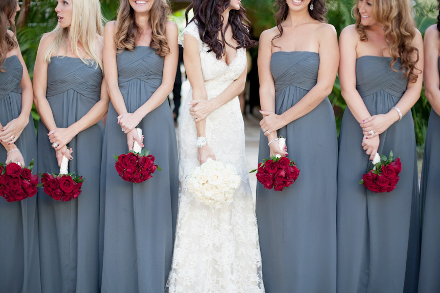 Bridesmaids, Real Weddings, Roses, Grey, Bridal party, Elegant, Glamorous, Red bouquets, Old hollywood, Jessica Lorren Organic Photography, grey dresses, florida real weddings, florida weddings