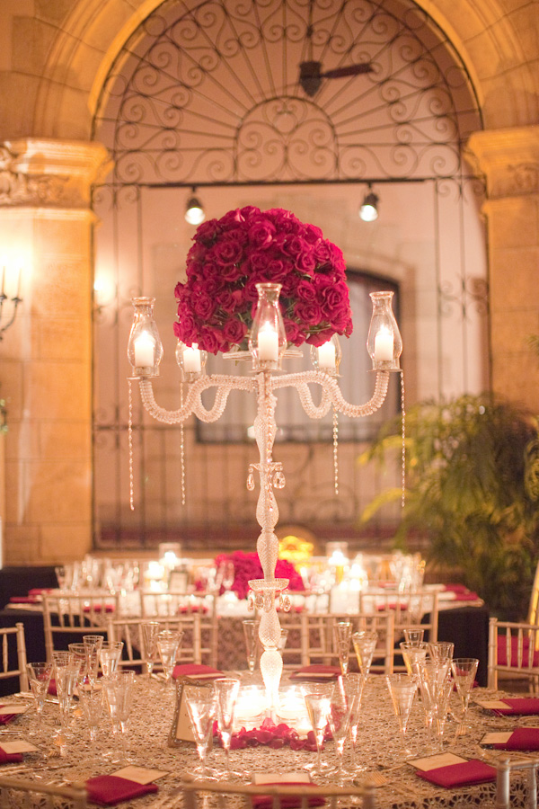 Reception, Flowers & Decor, Decor, Real Weddings, Wedding Style, Centerpieces, Lighting, Candles, Glam Weddings, Romantic, Elegant, Glamorous, Candelabra, Tabletop, Old hollywood, Candlelight, Red roses, Décor, Jessica Lorren Organic Photography