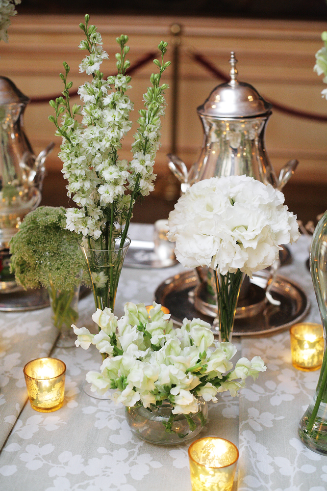 Reception, Flowers & Decor, Real Weddings, white, ivory, Centerpiece, Elegant, Chic, Sophisticated, Northeast weddings