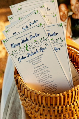 Stationery, Real Weddings, Wedding Style, blue, green, Invitations, Ceremony Programs, Southern Real Weddings, Summer Weddings, Summer Real Weddings, Southern weddings