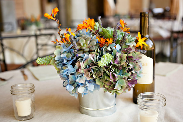 Flowers & Decor, Real Weddings, Wedding Style, blue, green, Centerpieces, Rustic Real Weddings, Southern Real Weddings, Rustic Weddings, Southern weddings, Beach Flowers & Decor