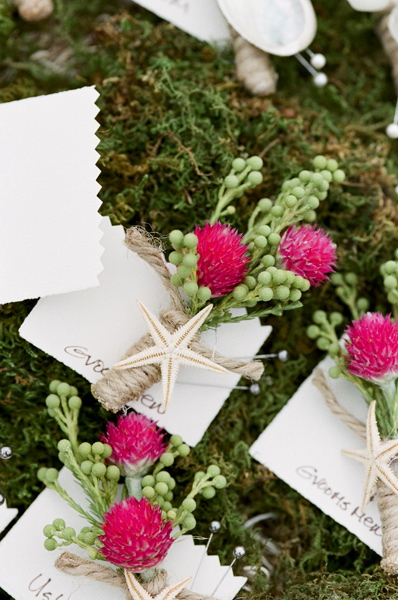 Flowers & Decor, Real Weddings, Wedding Style, pink, green, Boutonnieres, Beach Real Weddings, Summer Weddings, West Coast Real Weddings, Summer Real Weddings, Beach Weddings, Beach Wedding Flowers & Decor, Summer Wedding Flowers & Decor, Nautical Weddings, Nautical Real Weddings