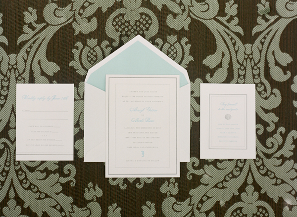 Stationery, Real Weddings, Wedding Style, ivory, green, Beach Wedding Invitations, Beach Real Weddings, Summer Weddings, West Coast Real Weddings, Summer Real Weddings, Beach Weddings, Nautical Weddings, Nautical Real Weddings