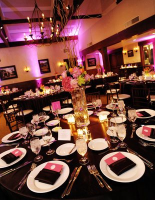 Flowers & Decor, Real Weddings, Wedding Style, pink, black, Centerpieces, Fall Weddings, Modern Real Weddings, West Coast Real Weddings, Classic Real Weddings, Fall Real Weddings, Classic Weddings, Modern Weddings, Modern Wedding Flowers & Decor, Table settings