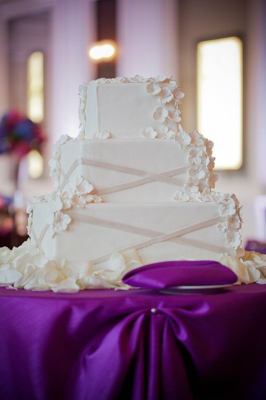 Cakes, Real Weddings, Wedding Style, purple, Floral Wedding Cakes, Wedding Cakes, Classic Real Weddings, Fall Real Weddings, Midwest Real Weddings, Modern wedding cake, Midwest Weddings, City Real Wedding, contemporary cake, Autumn Real Weddings, Chicago Real Weddings, Chicago Weddings, City Wedding