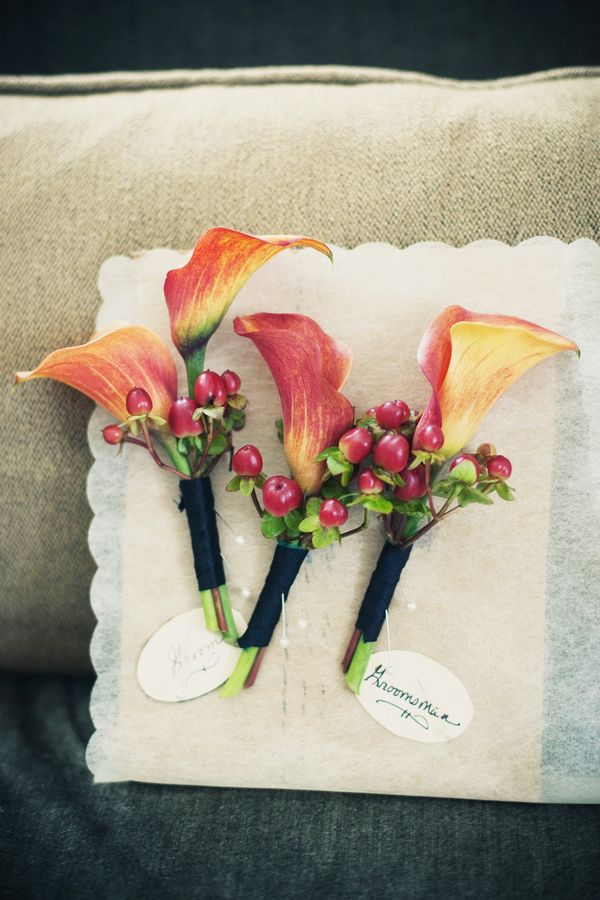 Flowers & Decor, Real Weddings, Wedding Style, orange, Boutonnieres, Modern Real Weddings, Summer Weddings, Summer Real Weddings, Modern Weddings
