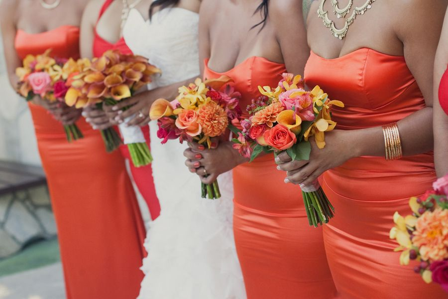 Flowers & Decor, Real Weddings, Wedding Style, orange, Bridesmaid Bouquets, Modern Real Weddings, Summer Weddings, Summer Real Weddings, Modern Weddings, Modern Wedding Flowers & Decor