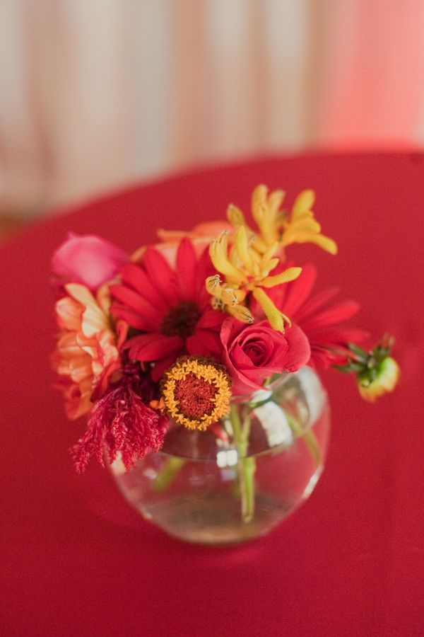 Flowers & Decor, Real Weddings, Wedding Style, red, Centerpieces, Modern Real Weddings, Summer Weddings, Summer Real Weddings, Modern Weddings, Modern Wedding Flowers & Decor, Summer Wedding Flowers & Decor