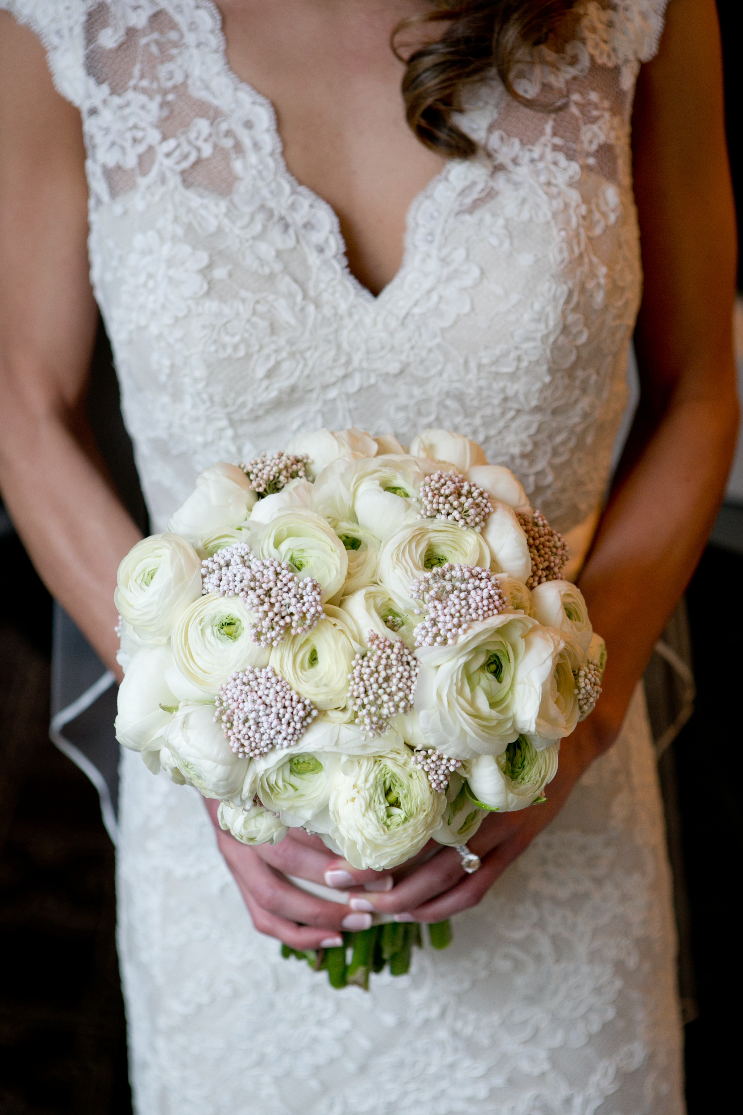 Flowers & Decor, Real Weddings, Wedding Style, ivory, Bride Bouquets, Spring Weddings, City Real Weddings, Classic Real Weddings, Midwest Real Weddings, Spring Real Weddings, City Weddings, Classic Wedding Flowers & Decor, Spring Wedding Flowers & Decor, Ranunculus, Monochromatic