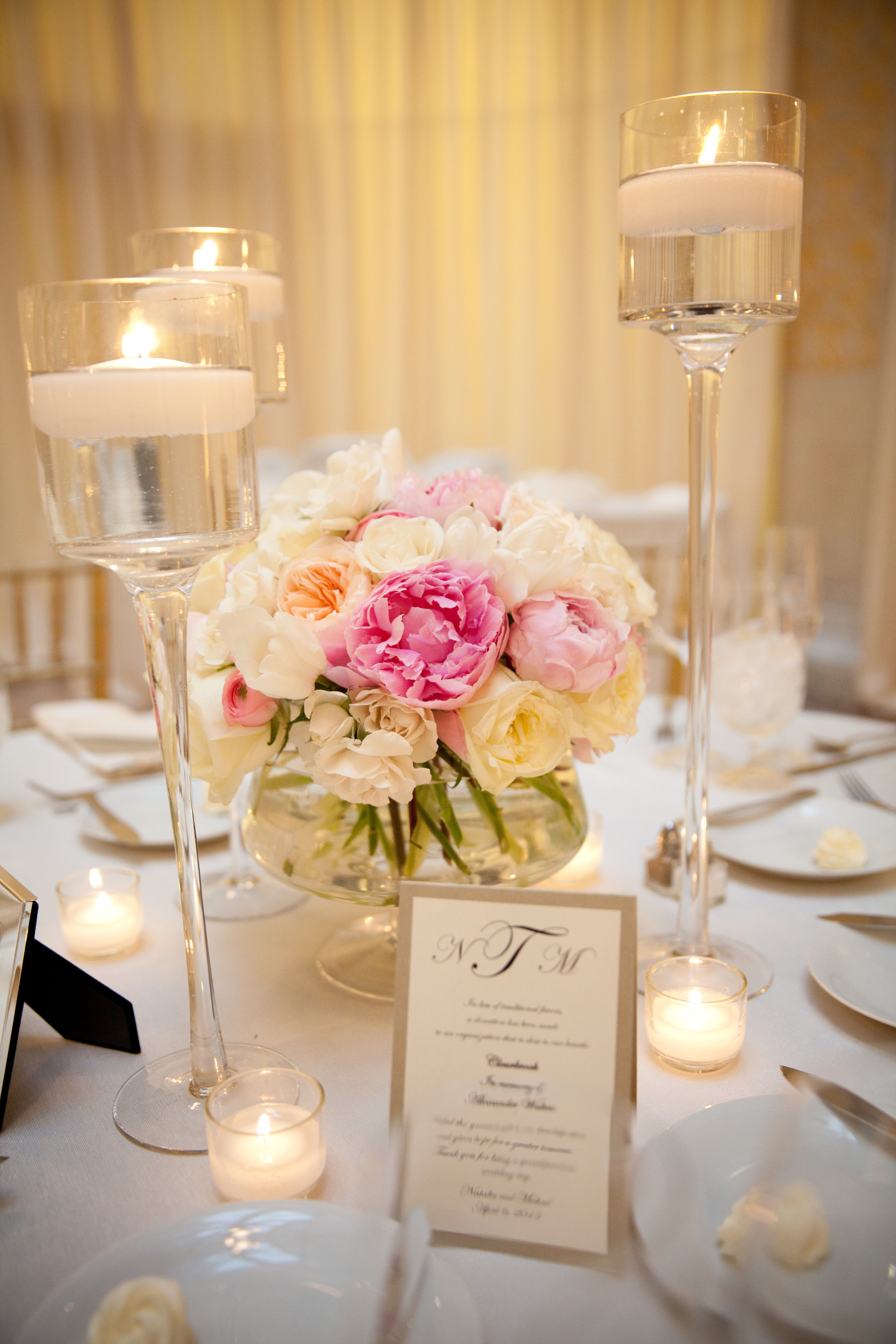 Flowers & Decor, Real Weddings, Wedding Style, pink, Centerpieces, Candles, Spring Weddings, City Real Weddings, Classic Real Weddings, Midwest Real Weddings, Spring Real Weddings, City Weddings, Classic Wedding Flowers & Decor, Spring Wedding Flowers & Decor, Peony, Candlelight