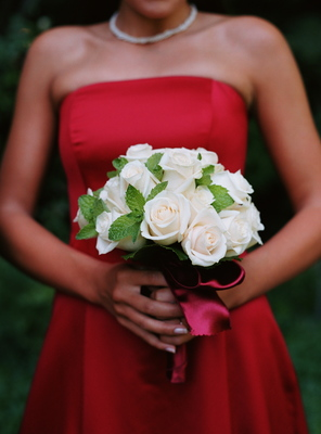 Real Weddings, ivory, red, West Coast Real Weddings, Classic Real Weddings, Vineyard Real Weddings, Classic Weddings, Bridesmaid bouquet