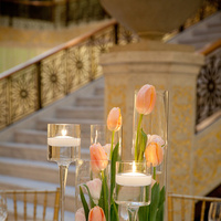 Reception, Flowers & Decor, Real Weddings, Wedding Style, Centerpieces, Candles, Spring Weddings, City Real Weddings, Classic Real Weddings, Midwest Real Weddings, Spring Real Weddings, City Weddings, Classic Wedding Flowers & Decor, Spring Wedding Flowers & Decor, Peach, Tulips, Candlelight, Submerged Centerpieces