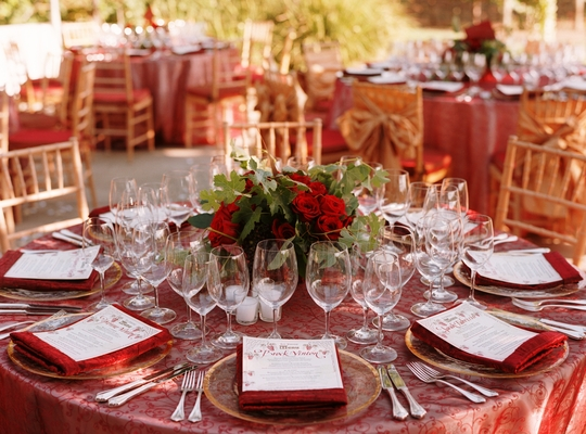 Real Weddings, red, West Coast Real Weddings, Classic Real Weddings, Vineyard Real Weddings, Classic Weddings, Classic Wedding Flowers & Decor, Table settings
