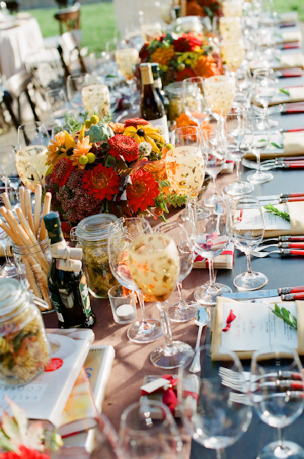 Flowers & Decor, Real Weddings, Wedding Style, orange, red, gold, Centerpieces, Fall Weddings, West Coast Real Weddings, Fall Real Weddings, Vineyard Real Weddings, Vineyard Weddings, Fall Wedding Flowers & Decor, Rustic Wedding Flowers & Decor, Vineyard Wedding Flowers & Decor, Table settings