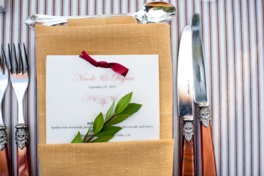 Flowers & Decor, Stationery, Real Weddings, Wedding Style, orange, gold, Place Cards, Menu Cards, Fall Weddings, West Coast Real Weddings, Fall Real Weddings, Vineyard Real Weddings, Vineyard Weddings, Fall Wedding Flowers & Decor, Rustic Wedding Flowers & Decor, Vineyard Wedding Flowers & Decor