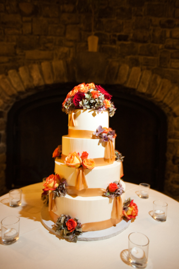 Cakes, Real Weddings, Wedding Style, orange, gold, Fall Wedding Cakes, Ribbon Wedding Cakes, Round Wedding Cakes, Wedding Cakes, Fall Weddings, West Coast Real Weddings, Fall Real Weddings, Vineyard Real Weddings, Vineyard Weddings