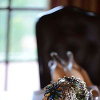 Real Weddings, Destination, Glamorous, Formal, Dramatic, Brooch bouquet
