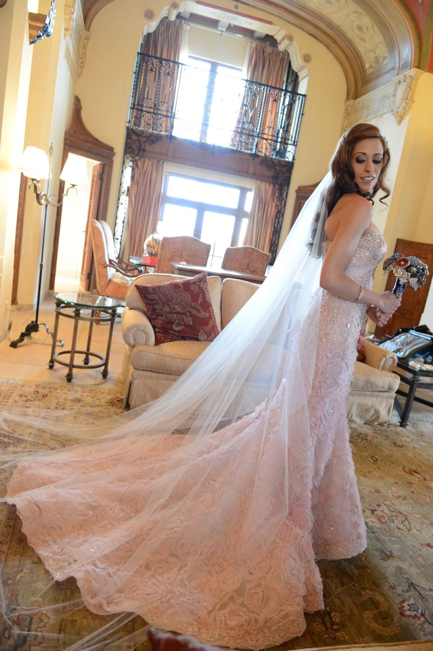 Real Weddings, Destination, Glamorous, Formal, Dramatic, Pink wedding dress