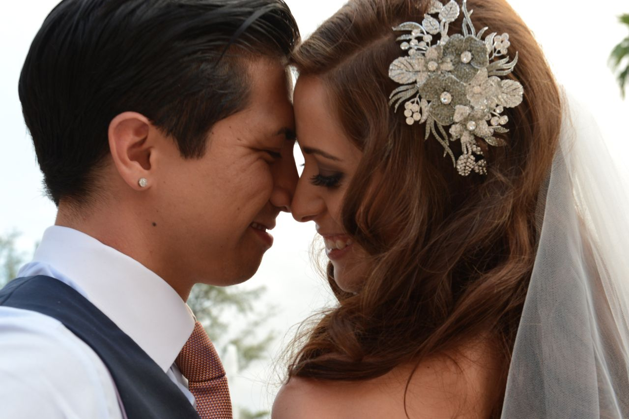 Real Weddings, Destination, Couple, Glamorous, Headpiece, Formal, Dramatic