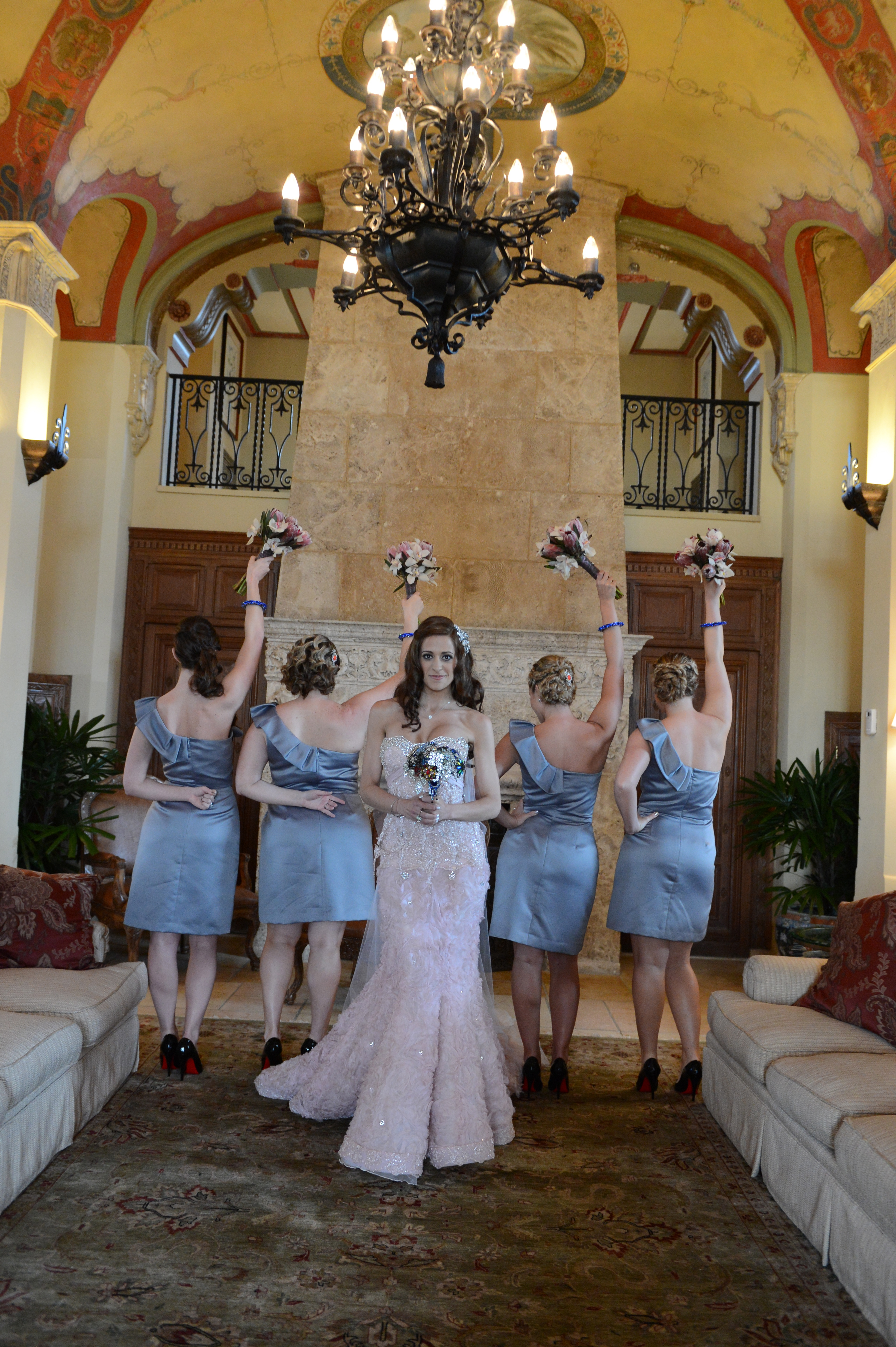 Bridesmaids, Real Weddings, Destination, Glamorous, Formal, Dramatic, grey dresses