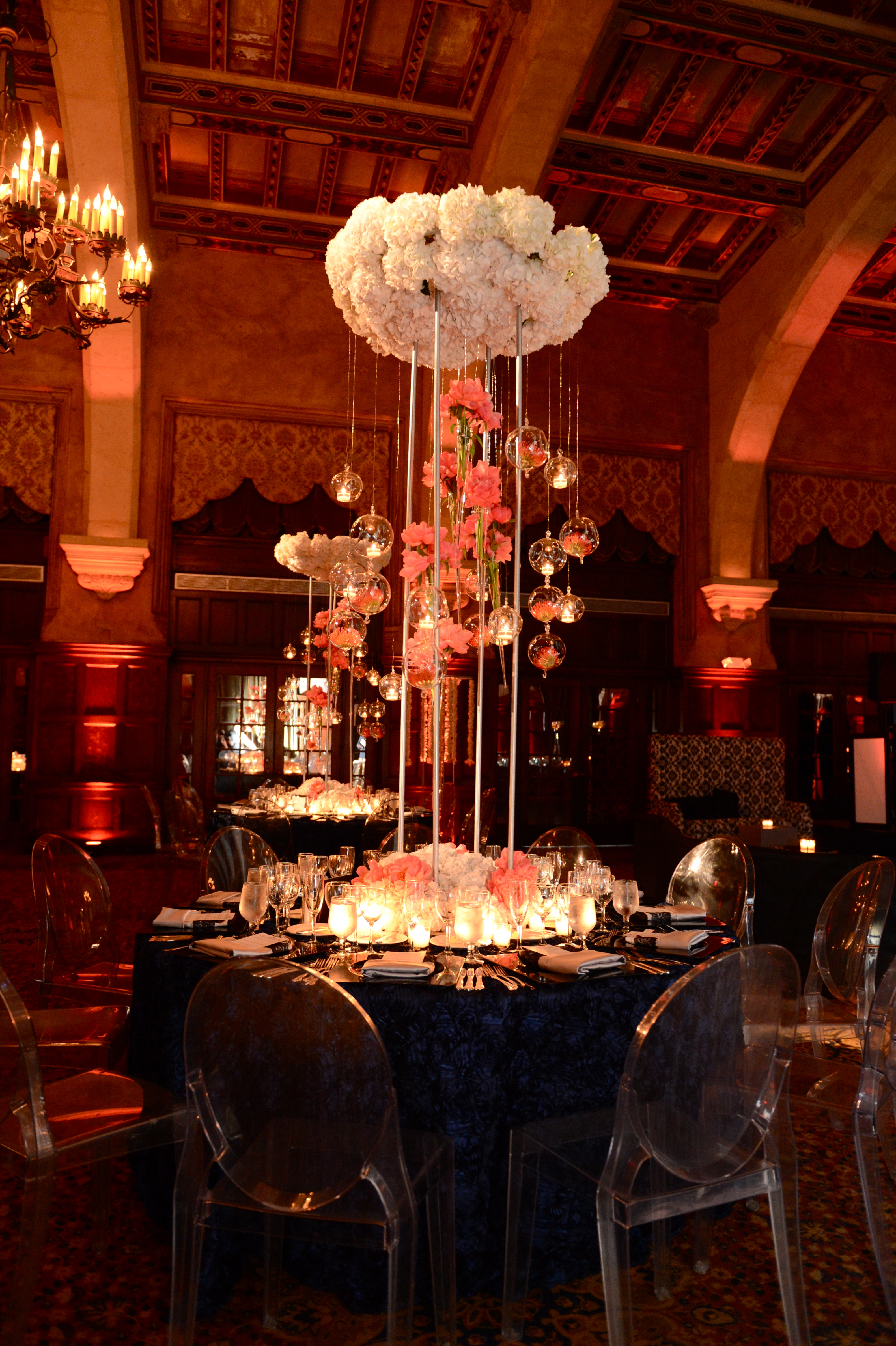 Reception, Flowers & Decor, Real Weddings, Centerpiece, Destination, Glamorous, Formal, Ballroom, Dramatic