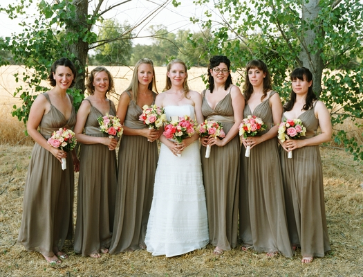 Bridesmaids Dresses, Fashion, Real Weddings, Wedding Style, green, brown, Summer Weddings, West Coast Real Weddings, Summer Real Weddings
