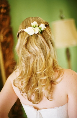 Beauty, Real Weddings, Wedding Style, Long Hair, Summer Weddings, West Coast Real Weddings, Summer Real Weddings, Hair flower