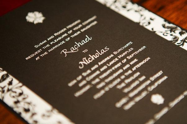 Stationery, Real Weddings, Wedding Style, black, Invitations, Modern Real Weddings, Glam Real Weddings, Glam Weddings, Modern Weddings, Damask