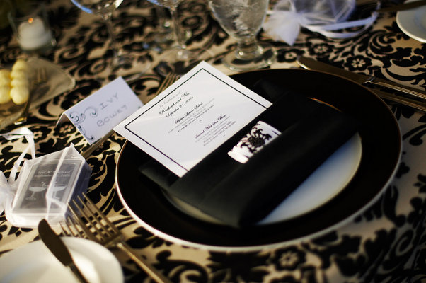 Flowers & Decor, Real Weddings, Wedding Style, black, Place Settings, Modern Real Weddings, Glam Real Weddings, Glam Weddings, Modern Weddings, Damask, Table settings