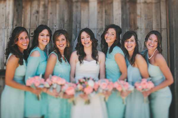 Bridesmaids Dresses, Fashion, Real Weddings, Wedding Style, blue, green, Rustic Real Weddings, Southern Real Weddings, Spring Weddings, Spring Real Weddings, Rustic Weddings, Teal, Pastel