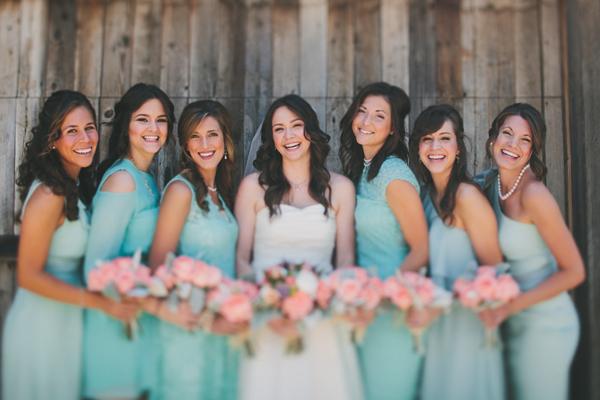 Bridesmaids Dresses, Fashion, Real Weddings, Wedding Style, blue, green, Rustic Real Weddings, Southern Real Weddings, Spring Weddings, Spring Real Weddings, Rustic Weddings, Teal, Pastel