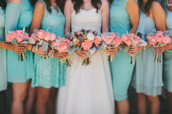 Flowers & Decor, Bridesmaids Dresses, Fashion, Real Weddings, Wedding Style, blue, green, Bridesmaid Bouquets, Rustic Real Weddings, Southern Real Weddings, Spring Weddings, Spring Real Weddings, Rustic Weddings, Teal, Pastel