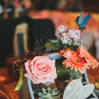 Flowers & Decor, Real Weddings, Wedding Style, orange, pink, Centerpieces, Southern Real Weddings, Spring Weddings, Spring Real Weddings, Rustic Wedding Flowers & Decor