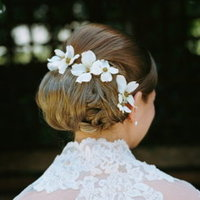 Beauty, Real Weddings, Wedding Style, Chignon, Updo, Spring Weddings, West Coast Real Weddings, Garden Real Weddings, Spring Real Weddings, Garden Weddings, Hair flower