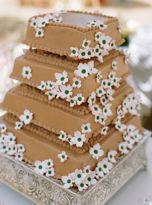Cakes, Real Weddings, Wedding Style, brown, Floral Wedding Cakes, Square Wedding Cakes, Wedding Cakes, Spring Weddings, West Coast Real Weddings, Garden Real Weddings, Spring Real Weddings, Garden Weddings