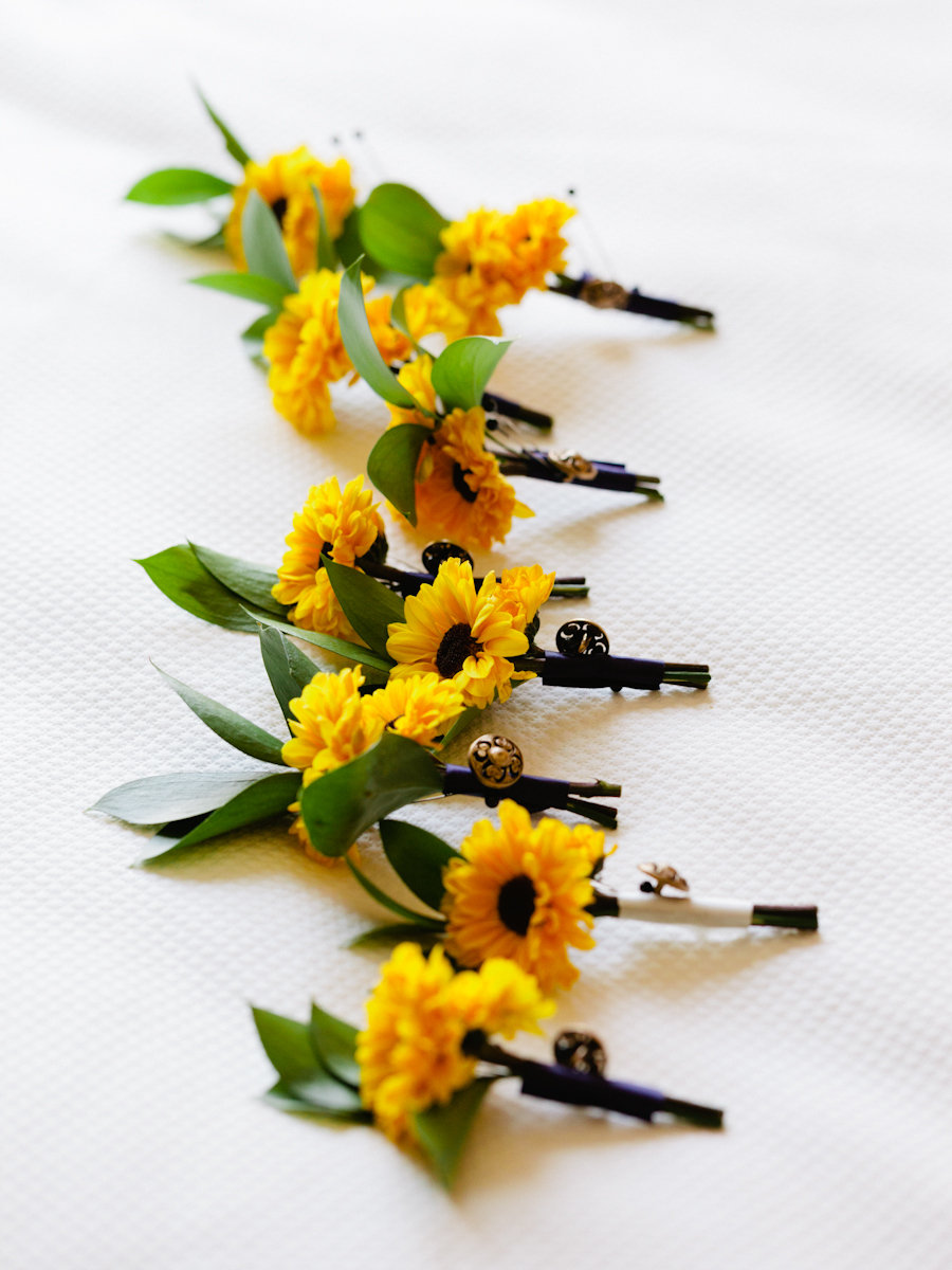 Flowers & Decor, Real Weddings, Wedding Style, yellow, Boutonnieres, Southern Real Weddings, Summer Weddings, Summer Real Weddings, Summer Wedding Flowers & Decor