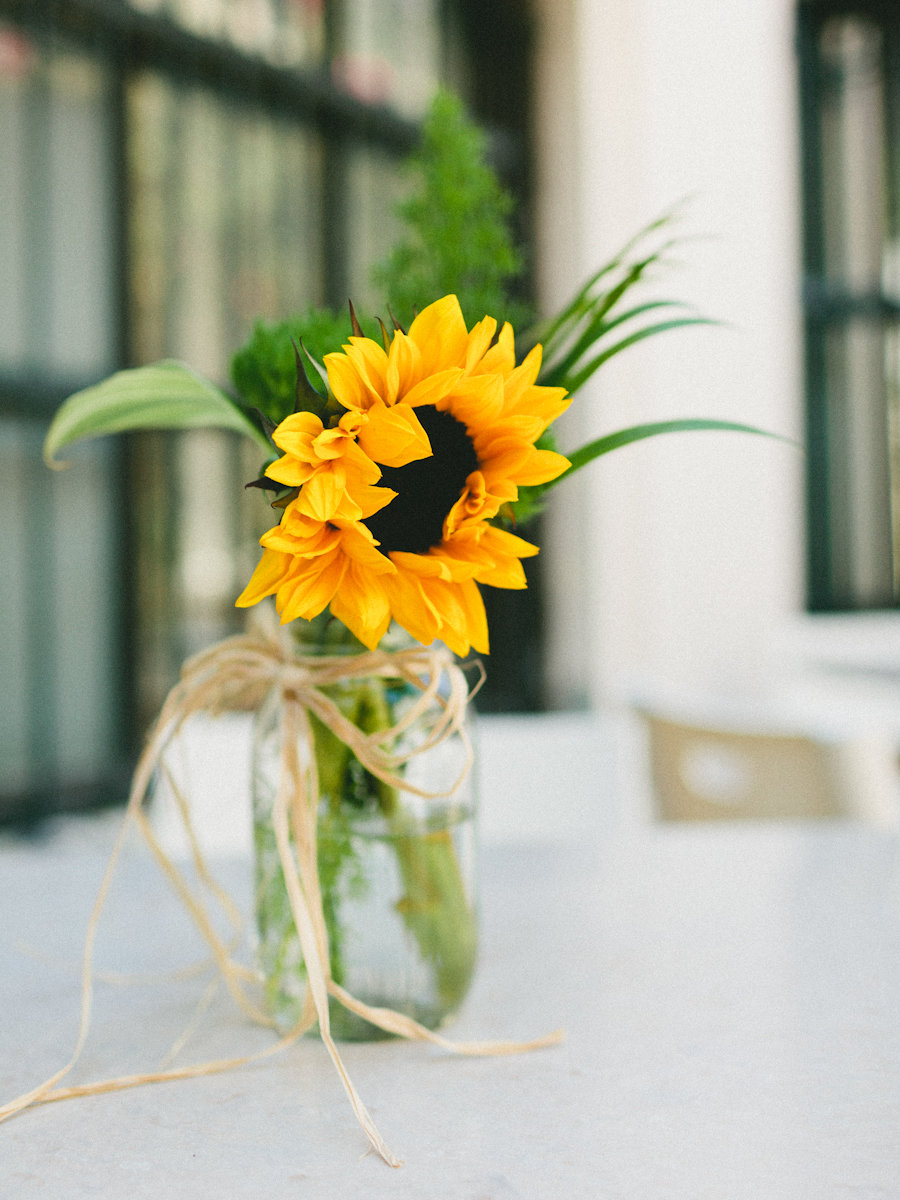 Flowers & Decor, Real Weddings, Wedding Style, yellow, Southern Real Weddings, Summer Weddings, Summer Real Weddings, Summer Wedding Flowers & Decor, Sunflowers, Mason jars