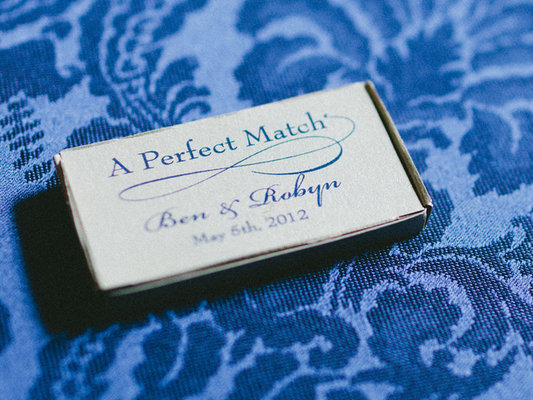 Favors & Gifts, Real Weddings, Wedding Style, blue, Southern Real Weddings, Summer Weddings, Summer Real Weddings, Matches, Guest gifts