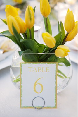 Flowers & Decor, Stationery, Real Weddings, Wedding Style, yellow, Centerpieces, Table Numbers, Modern Real Weddings, Spring Weddings, West Coast Real Weddings, Spring Real Weddings, Modern Weddings, Summer Wedding Flowers & Decor, Tulips