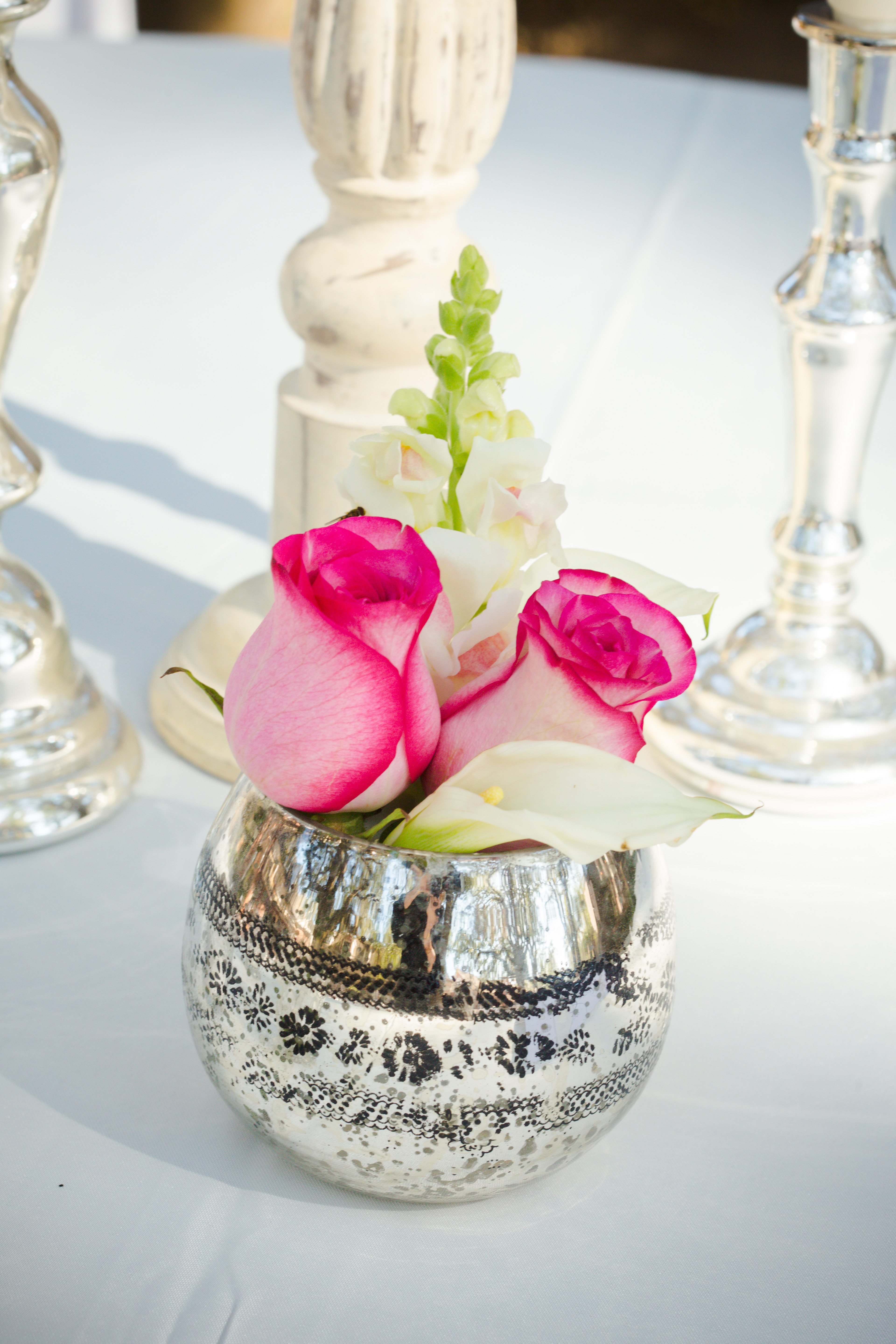 Flowers & Decor, Real Weddings, Wedding Style, pink, silver, Centerpieces, Southern Real Weddings, Winter Weddings, Winter Real Weddings, Vintage Wedding Flowers & Decor