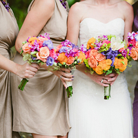 Flowers & Decor, Destinations, Real Weddings, Wedding Style, ivory, orange, pink, purple, Destination Weddings, Mexico, Bride Bouquets, Bridesmaid Bouquets, Beach Real Weddings, Summer Weddings, Summer Real Weddings, Beach Weddings, Beach Wedding Flowers & Decor, Summer Wedding Flowers & Decor, Beige