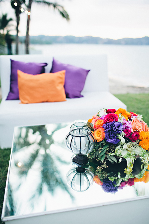 Flowers & Decor, Destinations, Real Weddings, Wedding Style, white, orange, purple, Destination Weddings, Mexico, Centerpieces, Tables & Seating, Beach Real Weddings, Summer Weddings, Summer Real Weddings, Beach Weddings, Beach Wedding Flowers & Decor, Summer Wedding Flowers & Decor