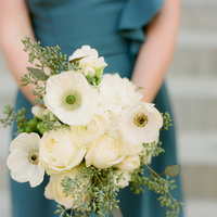 Flowers & Decor, Real Weddings, Wedding Style, ivory, Bride Bouquets, Bridesmaid Bouquets, Northeast Real Weddings, Modern Real Weddings, Winter Weddings, City Real Weddings, Winter Real Weddings, City Weddings, Modern Weddings, Modern Wedding Flowers & Decor, Spring Wedding Flowers & Decor, Summer Wedding Flowers & Decor, Winter Wedding Flowers & Decor, Roses, Teal, Poppies