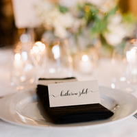 Reception, Calligraphy, Stationery, Real Weddings, Wedding Style, black, Place Cards, Northeast Real Weddings, Modern Real Weddings, Winter Weddings, City Real Weddings, Winter Real Weddings, City Weddings, Modern Weddings, Place setting