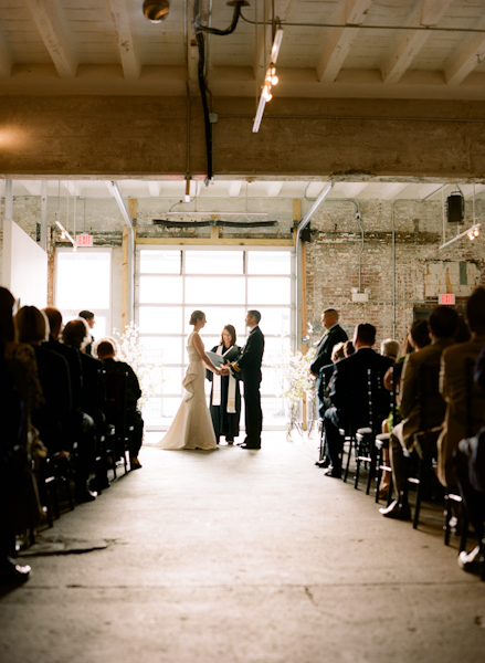 Ceremony, Real Weddings, Wedding Style, Northeast Real Weddings, Modern Real Weddings, Winter Weddings, City Real Weddings, Winter Real Weddings, City Weddings, Modern Weddings, Aisle, Wedding venue