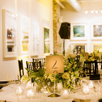 Reception, Flowers & Decor, Stationery, Real Weddings, Venues, Wedding Style, Centerpieces, Table Numbers, Northeast Real Weddings, Modern Real Weddings, Winter Weddings, City Real Weddings, Winter Real Weddings, City Weddings, Modern Weddings, Winter Wedding Flowers & Decor, Candlelight, art gallery