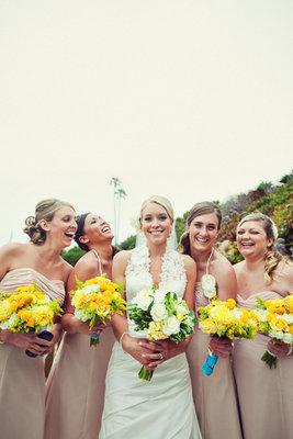 Bridesmaids Dresses, Fashion, Real Weddings, Wedding Style, yellow, brown, Summer Weddings, West Coast Real Weddings, Summer Real Weddings