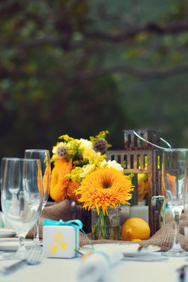 Flowers & Decor, Real Weddings, Wedding Style, yellow, Centerpieces, Summer Weddings, West Coast Real Weddings, Summer Real Weddings, Summer Wedding Flowers & Decor, Sunflowers