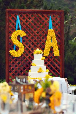 Flowers & Decor, Real Weddings, Wedding Style, yellow, Wedding Cakes, Summer Weddings, West Coast Real Weddings, Summer Real Weddings, Summer Wedding Flowers & Decor, Initials, Monograms, Wedding signs